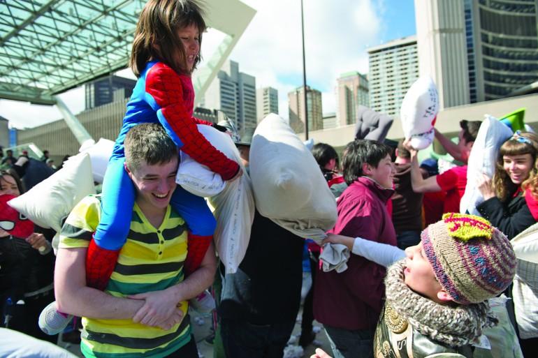 Massive pillow fight takes Toronto