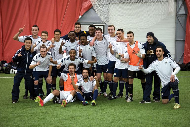 Men's indoor soccer strikes gold