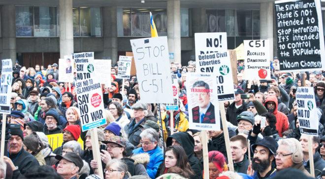 bill c-51 protest in toronto - crowd