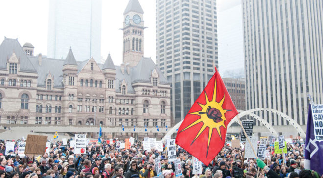 bill c-51 protest in toronto - nathan phillips square