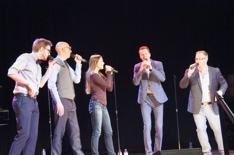 Acapella group preforms at Lakeshore campus