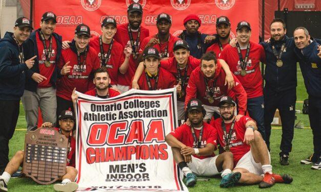 Hawks mens' indoor soccer team wins OCAA championship