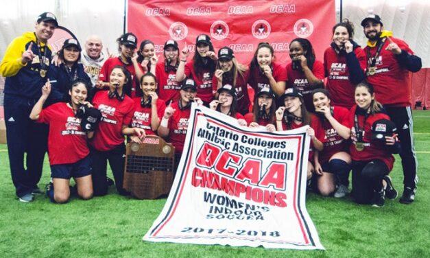 Womens' indoor soccer team scores OCAA title
